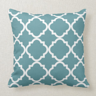 Teal and White Quatrefoil Pattern Throw Pillow