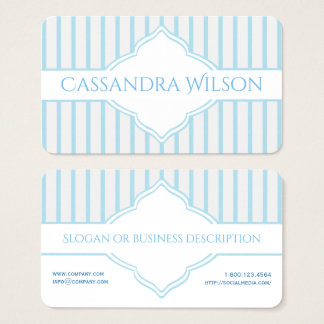Teal and White Quatrefoil Stripe Business Card