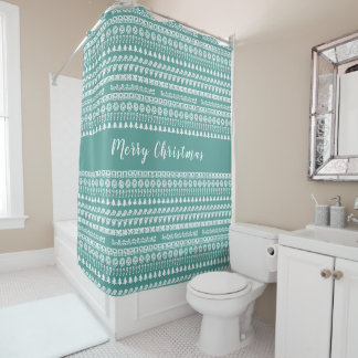 Teal and White Rows Christmas Picture Font Pattern Shower Curtain