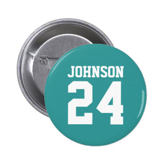 Teal and White School Spirit Personalized Team 6 Cm Round Badge