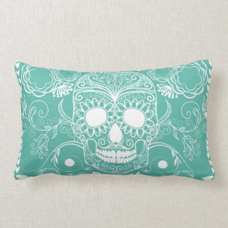 Teal and White Skull Throw Pillow