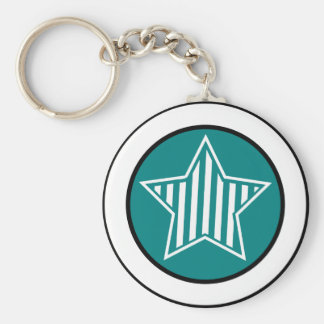 Teal and White Star Keychain