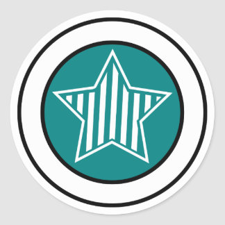 Teal and White Star Sticker