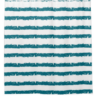 Teal and White Striped Geometric Shower Curtain