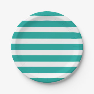 Teal and White Stripes 7 Inch Paper Plate