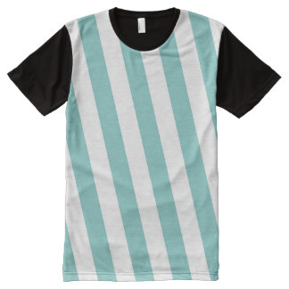 Teal and White Stripes All-Over Print T-Shirt