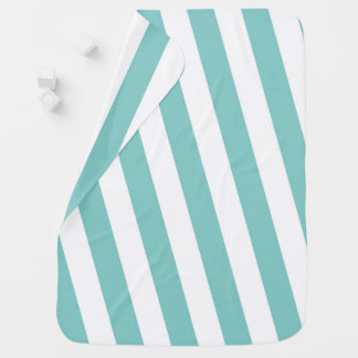 Teal and White Stripes Baby Blanket