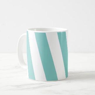 Teal and White Stripes Coffee Mug