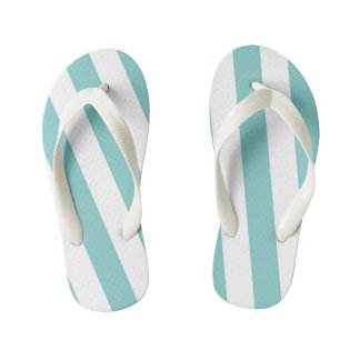 Teal and White Stripes Kid's Thongs