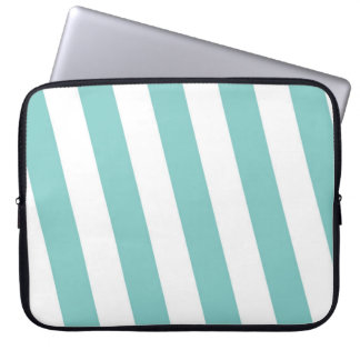 Teal and White Stripes Laptop Sleeve