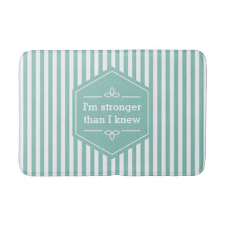 Teal and White Stripes Motivational Saying Bath Mat
