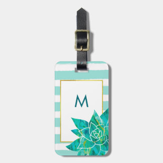 Teal and White Stripes with Watercolor Succulent Luggage Tag