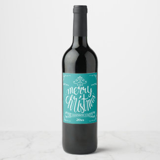 Teal and White Typography Holiday Wine Label