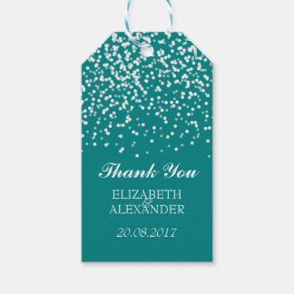 Teal and White Wedding Confetti Pattern Gift Tags