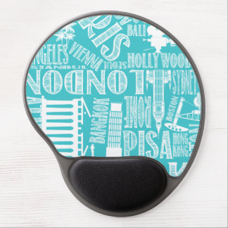Teal and white world mouse pad gel mouse pad
