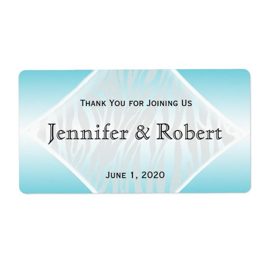 Teal and White Zebra Diamond Water Bottle Label Shipping Label