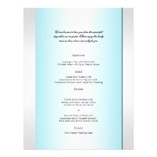 Teal and White Zebra Diamond Wedding Menu 21.5 Cm X 28 Cm Flyer