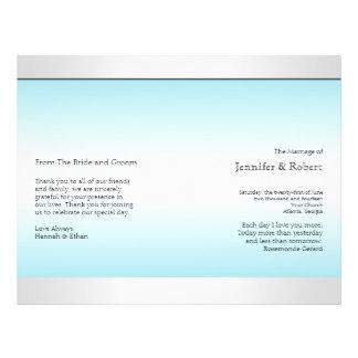 Teal and White Zebra Diamond Wedding Program Full Color Flyer