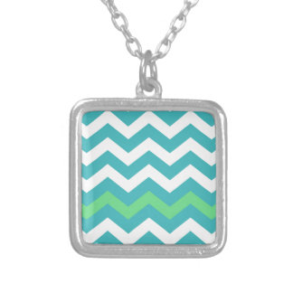 Teal and White Zigzag With Light Green Border Square Pendant Necklace