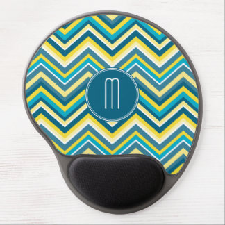 Teal and Yellow Colorful Chevron Pattern Monogram Gel Mouse Mat