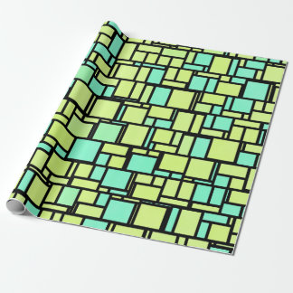 Teal and yellow geometric cubes wrapping paper