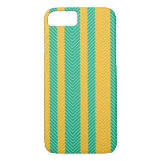 Teal and Yellow Herringbone Pattern iPhone 7 Case