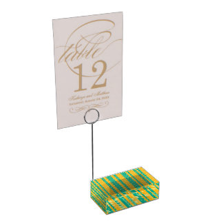 Teal and Yellow Herringbone Pattern Table Card Holders
