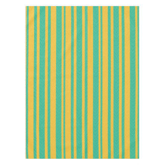 Teal and Yellow Herringbone Pattern Tablecloth
