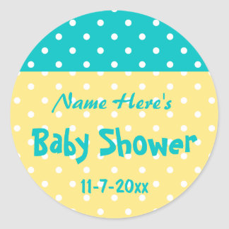 Teal and Yellow Polka Dot, Custom Baby Shower Classic Round Sticker