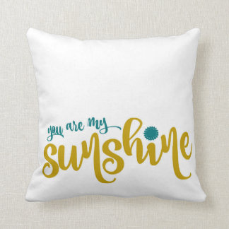 Teal and Yellow Typography My Sunshine Throw Pillow