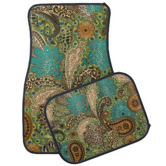 Teal Animal Print Paisley Pattern Car Mat