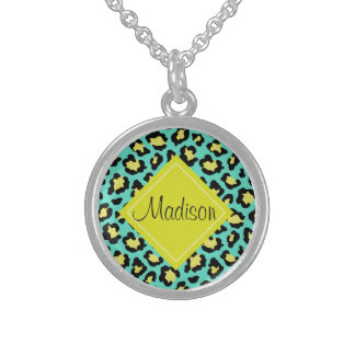 Teal Animal Print Sterling Silver Necklace