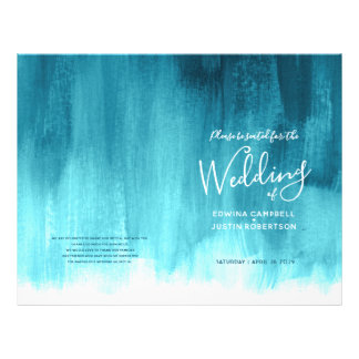 Teal aqua abstract art wedding program flyer