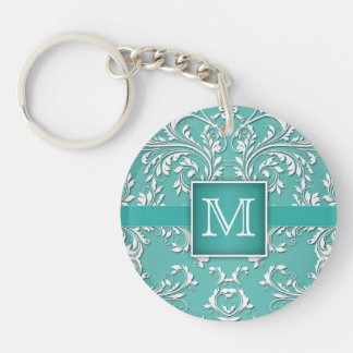 Teal Aqua and White Damask Monogram Key Ring