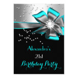 Teal Aqua Black Silver Bow Pearl Birthday Party 13 Cm X 18 Cm Invitation Card