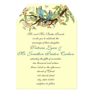Teal Aqua Blue Bird Wedding Invites