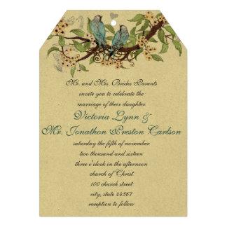 Teal Aqua Blue Bird Wedding Invites