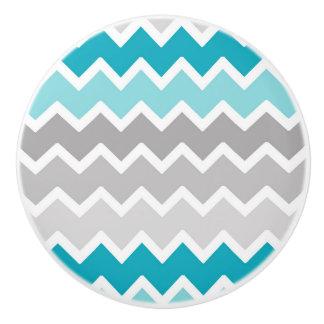 Teal Aqua Blue Grey Gray Ombre Chevon Ceramic Knob