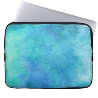 Teal Aqua Blue Teal Watercolor Texture Pattern Laptop Sleeves