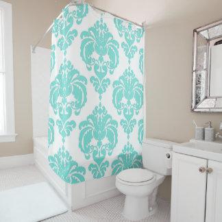 Teal Aqua Blue & White Royal Glam Damask Shower Curtain