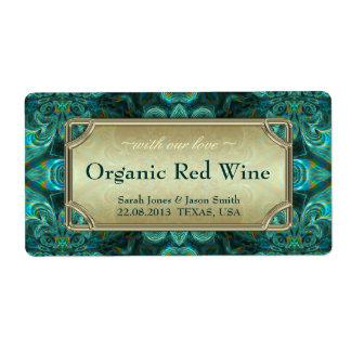 Teal Aqua Fantasy Wedding  Red Gold Wine Labels