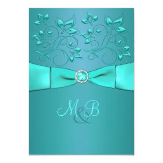 Teal, Aqua Floral II Monogram Wedding Invitation