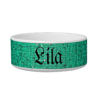 Teal Aqua Glitter Sequin Disco Glitz Pet Food Bowl