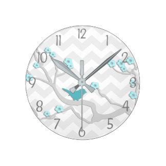 Teal Aqua Grey Bird on Branch Nursery Wall Clock