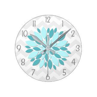 Teal Aqua Grey Dahlia Flower Nursery Wall Clock
