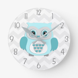 Teal Aqua Grey Owl Nursery Wall Clock