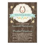 Teal Aqua Horseshoe Heart Western Wedding 13 Cm X 18 Cm Invitation Card