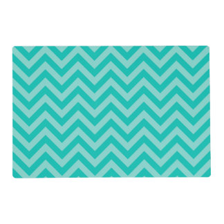 Teal Aqua Large Chevron ZigZag Pattern Laminated Placemat