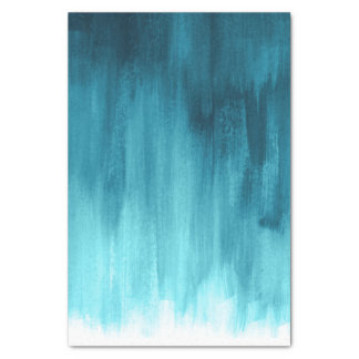 Teal aqua loose brush art tissue paper