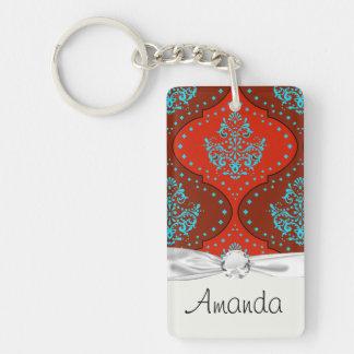 teal aqua red white henna damask Single-Sided rectangular acrylic keychain